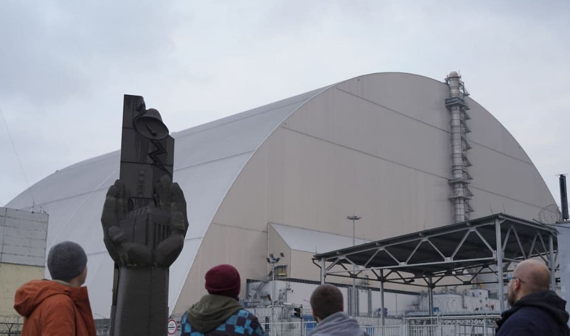 Observation platform, sarcophagus of the Chernobyl nuclear power plant