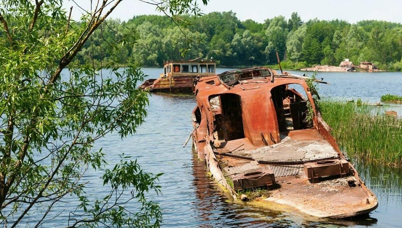 Graveyard of abandoned ships